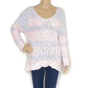 Free People Pink and Purple Pastel Knit Sweater